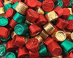 4 Pounds Bulk Christmas Foil Wrapped Rolos. Fresh and Delicious Rolos individualy wrapped in Red, Green, and Gold Foil.