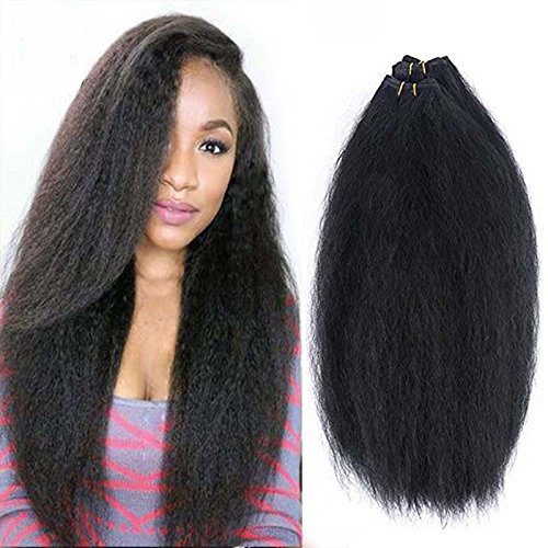 5 Pcs Kinky Straight Hair Weave Bundles Natural Color Coarse Yaki Straight Hair Extensions 16 16 18 18 with (Closure Material)