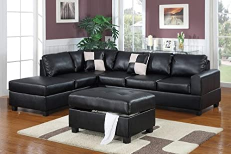 Poundex F7355 Black Bonded Leather Living Room Sectional Sofa : amazon sofa sectionals - Sectionals, Sofas & Couches
