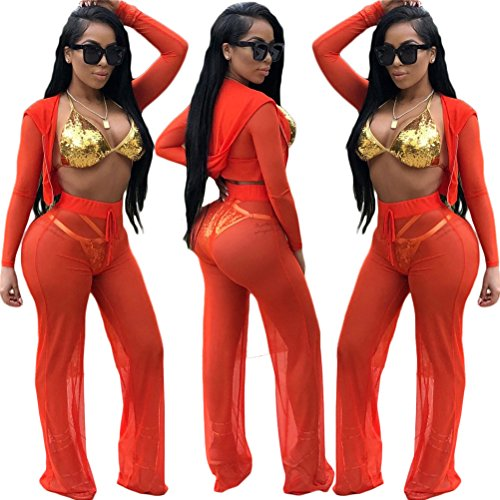 Femmes Leg sexy Survtement Pants Through See Wide Rouge Set Crop Top capuche Ensemble 2 Clubwear pices 88wpxR1qr