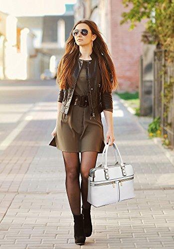 TrendStar Bolso Para Mujer Del Diseñador Bolsos De Las Señoras De Cuero De Imitación 3 Compartimento Totalizador Del Estilo Nueva Celebridad Amplio Blanco Bolso