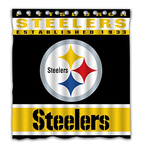 Potteroy Pittsburgh Steelers Team Design Shower Curtain Waterproof Polyester Fabric 66x72 Inches