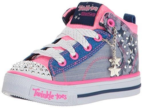 Skechers Kids Girls' Shuffles-Journey Jumpz Sneaker,Denim/Neon Pink,1 M US Little Kid (Skechers Rubber Shoes)