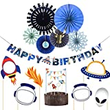 Easy Joy Outer Space Solar Photo Booth Props Kit Rocket Alien Banner Cake Toppers Cardstock Paper Fans for Boy Birthday Baby Shower Party Decoration (Blue & Gold)