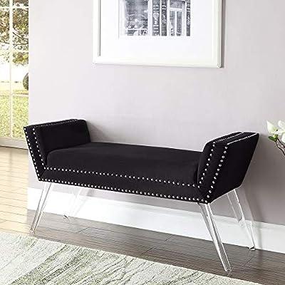 Inspired Home Velvet Bench - Design: Crawford | Modern Acrylic Legs | Upholstered | Nailhead Trim Finish