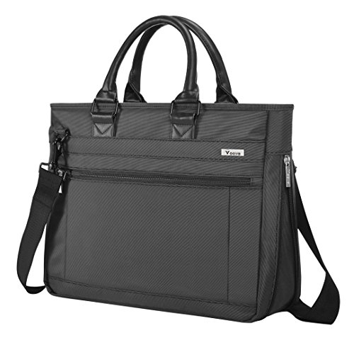 Voova Laptop Bag 15-15.6 inch Waterproof Laptop Case with 50% Expanded Capacity Removable Shoulder Strap Laptop Sleeve Multifunctional Briefcase Messenger Bag for Men/Women (Black)