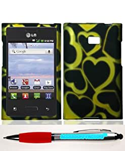 Accessory Factory(TM) Bundle (the item, 2in1 Stylus Point Pen) LG 35G Logic VS410 Optimus Zone Golden Hearts Case Cover Protector