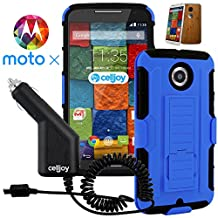 Moto X2 Case, CellJoy [Future Armor] {Cobalt Blue} Motorola Moto X 2nd Generation / X+1 2014 Release Model Case (WILL NOT FIT MOTO X 1st Gen) Hybrid Ultra Fit Dual Protection [Heavy Duty] Kickstand Holster **Shock-proof** [Belt Clip Holster Combo] - Robot Case Cover + Micro USB Rapid Car Charger by Celljoy