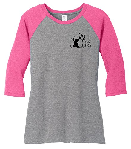 Comical Shirt Ladies Bowling Chest Print Fuchsia Frost/Grey Frost - Bowling Pink Shirt