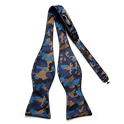 (PenSee Mens Self Novelty Bowtie Camouflage Camo Jacquard Woven Bow Ties - Various Colors)