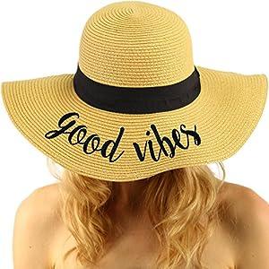 "Fun Verbiage Elegant Wide Brim 4"" Summer Derby Beach Pool Floppy Dress Sun Hat Natural (good vibes)"