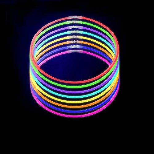"100 22"" Thick 6mm Bulk Tube Glow Stick Necklace, Premium Pre-Attached Connectors, 9 Colors, Free E-Book"
