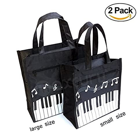 Crosstree 2 PC Oxford Cloth Piano Keys Music Tote Bag Grocery Tote Shopping Bag (One Small & One (Violin Size 1 2 Oxford)
