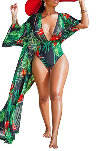 Medium Sexy Three Piece - FEIYOUNG Women Sexy Three Pieces Tops Bottoms and Floral Cover-ups Summer Beach Swimsuits (Medium, Green 4)