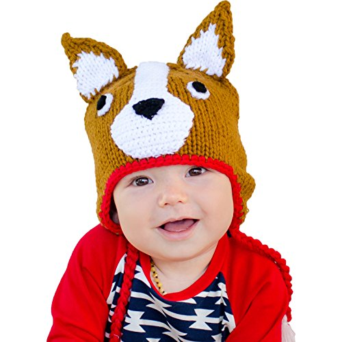 Huggalugs Boys or Girls Corgi Dog Beanie Hat Medium (6-24m) Brown ()