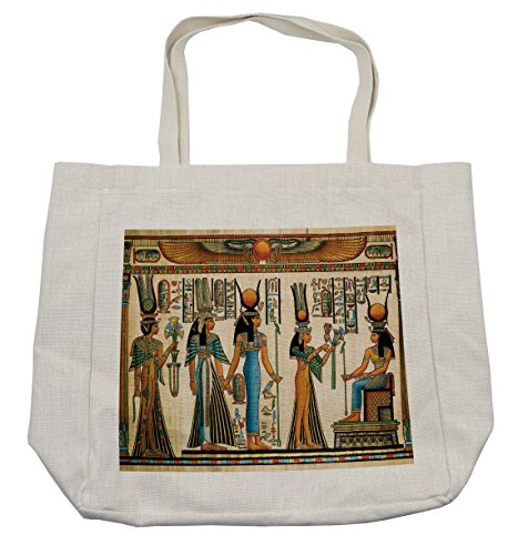 Lunarable Egyptian Shopping Bag, Egyptian Papyrus Depicting Queen Nefertari Making an Offering to Isis Image Print, Eco-Friendly Reusable Bag for Groceries Beach and More, 15.5