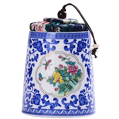 2500 Silk Art Chinese Style Oriental Ceramic Jar Crock Canister Glazed Celadon Porcelain Sugar Storage Tea Caddy Canister Coffee Can Spices Collection for Home Decoration (QH01) ()