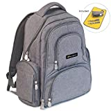 BACKPACK DIAPER BAG - 16 Pocket Organizer Diaper Bag Set with Stroller Straps, Bottle Tote & Changing Pad - Stylish Travel Diaper Bag for Mom or Dad - Insulated, Padded & Wet-Lined - Boy or Girl Grey