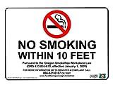 ComplianceSigns Vinyl Oregon No Smoking X Feet Label, 5 x 3.5 with English, 4-Pack White