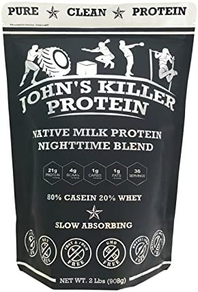 New – John s Killer Protein – Nighttime Blend. The Ideal Mix of 80 Slow Absorbing Casein 20 Grass fed whey. Non-GMO, Soy Gluten Free. Pure Protein Without sweeteners or Artificial Ingredients.