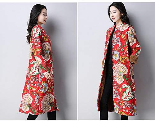 National Red Coton Taille Nouveau Lin Imprimées De En Épais Femmes Peony Manteau Et Vitila Pour Grande 16qx5wAq