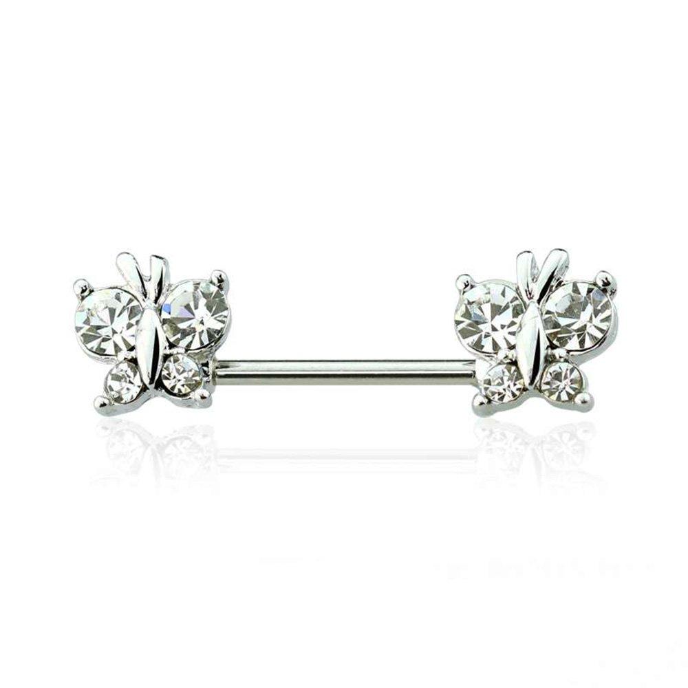 Pair of Crystal Center Tribal Flower Surgical Steel Nipple Rings Barbells 14G