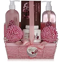 Mother's Day Gifts - Spa Gift Basket in Cherry Blossom Fragrance - 8 Piece Bath Set Includes Shower Gel, Bubble Bath, Bath Salt, Lotion & More! Great Wedding, Anniversary or Graduation Gift for Women
