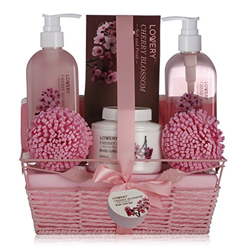 (Spa Gift Basket in Cherry Blossom Scent - 8 Piece Luxury Bath Set for Women & Men, Includes Shower Gel, Bubble Bath, Salts, Lotion & More! Great B-Day, Wedding, Anniversary & Graduation Gift for Women)