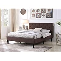 Home Life Premiere Classics Cloth Dark Brown Silver Linen 51 Tall Headboard Platform Bed with Slats Queen - Complete Bed 5 Year Warranty Included 021