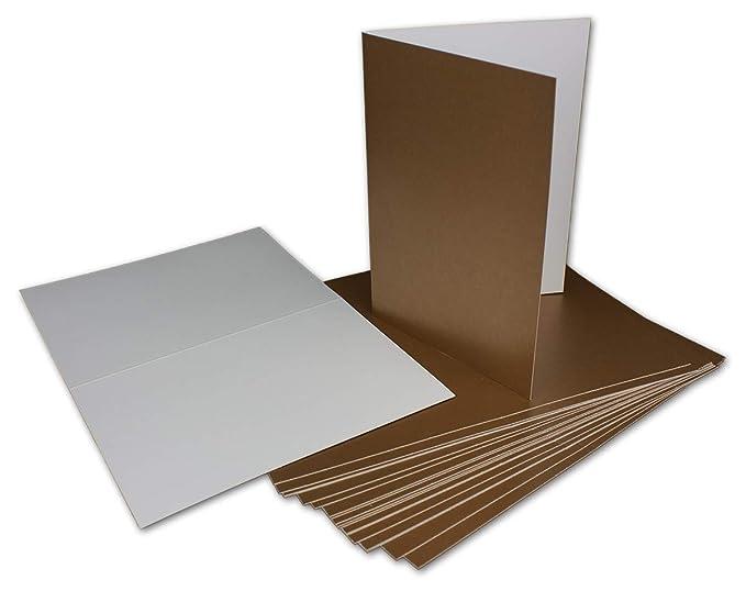 45 Klapp-Karte Umschlag Set DIN A6/C6 Gold matt glänzend - Karte A6 10,5 x 14,7 cm Umschlag C6 11,5 x 16 cm - Eine Karte-Umsc