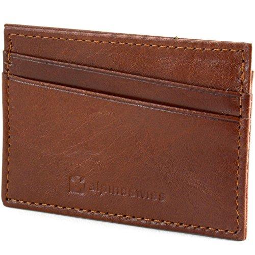Leather Card Holder - Alpine Swiss Front Pocket Wallet Minimalist Super Thin 5 Card Wallet Genuine Leather BRN