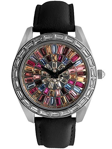 Peugeot Women's Kaleidoscope Watch with Crystal Bezel & White Leather Strap Band