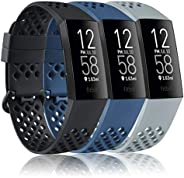 Vancle Bands Compatible with Fitbit Charge 4 Bands & Fitbit Charge 3 Bands, Soft Silicone Breathable Sport
