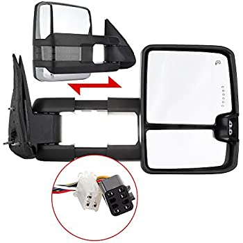 scitoo power heated chrome towing mirrors led clearance signal light fit 99-02  silverado/