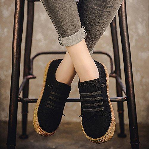 Sportive Inverno Flat Donna Da up Single Soft Scarpe Shoes Stivali Boots Ankle Oyedens Nero Sneakers Stringate Corsa Lace Leather X8pHgq