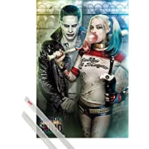 Poster + Hanger: Suicide Squad Poster (36x24 inches) Joker And Harley Quinn And 1 Set Of Transparent 1art1® Poster Hangers