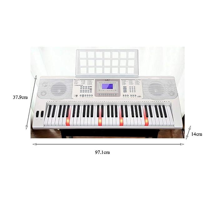 Entrada Para Principiantes Adultos De 61 Teclas Teclado Profesional Multifunción (Color : Blanco-61 keys): Amazon.es: Instrumentos musicales