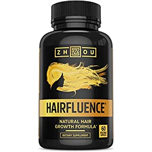 HAIRFLUENCE - All Natural Hair Growth Formula For Longer, Stronger, Healthier Hair - Scientifically Formulated with Biotin, Keratin, Bamboo & More! - For All Hair Types - Veggie Capsules