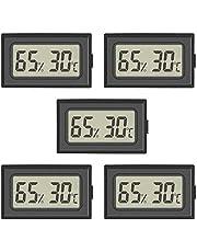 5-Pack Mini Digital Thermometer Hygrometer Meters Gauge Indoor, Large Number Display Temperature Humidity for Home Office Humidors Jars Incubators Guitar Case