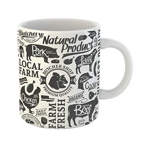 (Emvency Coffee Tea Mug Gift 11 Ounces Funny Ceramic Pattern Typographic Butchery Farm Animals and Butcher Sheep Gifts For Family Friends Coworkers Boss)