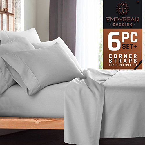 Premium 6-Piece Bed Sheet & Pillow Case Set – Luxurious & Soft Cal King Size Linen, Extra Deep Pocket Super Fit Fitted Silver Light Gray Sheets - Extra Deep Pocket Bed Sheets