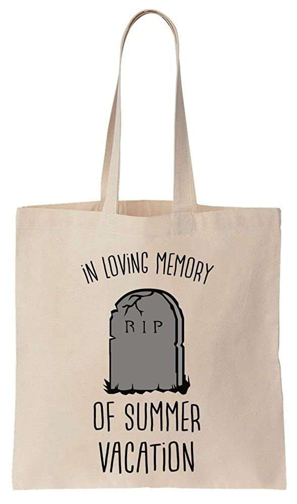 In Loving Memory Of Summer Vacation RIP Gravestone Cotton Canvas Tote Bag