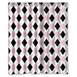 Black White and Pink Shower Curtain Geometric Argyle Pattern Shower Curtain Set With Hooks,Black / Pink / White Printed Bathroom Decor, Polyester Fabric