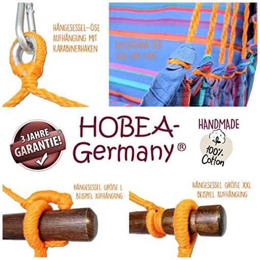 HOBEA-Germany Sedia sospesa con 2 Cuscini in Diversi Colori, Dimensioni Sedia Amaca: L(bis 120kg belastbar), Colori Sedia sospesa:Island