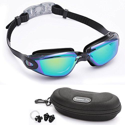 Bezzee-Pro Anti-Fog UV Protected Swimming Goggles with Goggles Case, Swimming Earplugs and Nose clip (Black - Color Mirror - Men Gogles