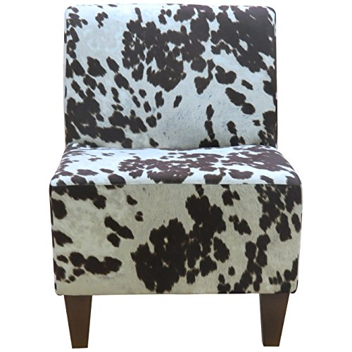 Foxhill Trading Penelope Armless Slipper Chair, Cowhide Brown