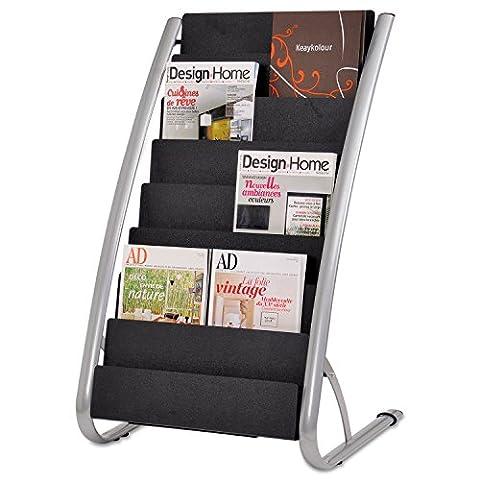 Alba DDEXPO8 Literature Floor Display Rack, Eight Pocket, 22.2w x 18.4d x 36h, Black/Steel - Pocket Literature Floor Display