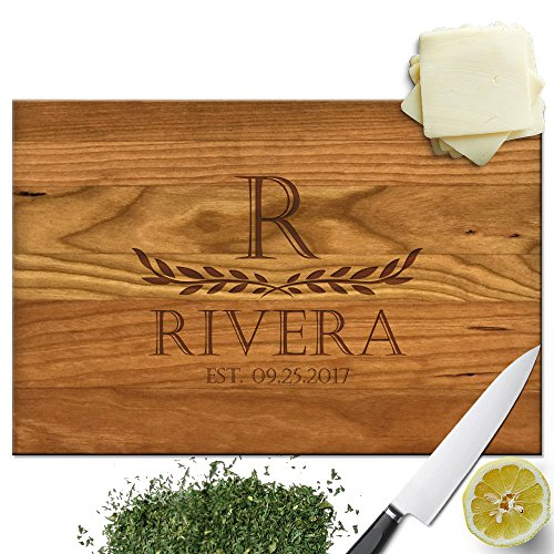 Froolu Two Leaves large wood cutting board for First Time Home Owners Housewarming - Kitchen Personalized Towels