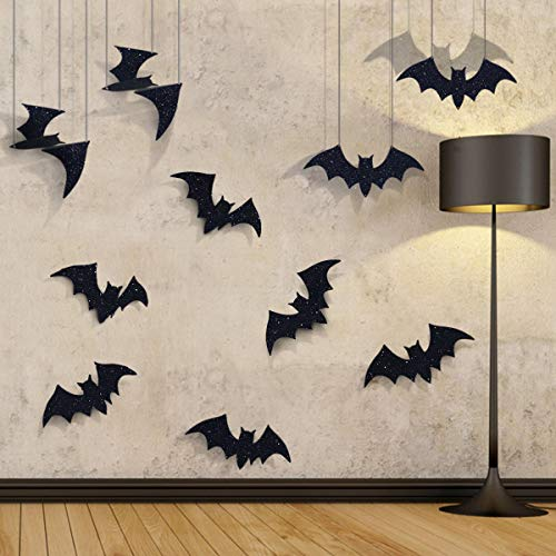 Pawliss Halloween Decorations, 10 Pcs Hanging Bats and Wall Decals Window Stickers, Bat Halloween Yard Decorations Outdoor Party Decor -