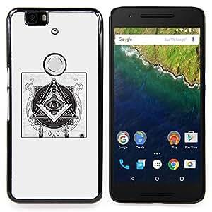 Eason Shop / Premium SLIM PC / Aliminium Casa Carcasa Funda Case Bandera Cover - Pirámide Simbolismo Negro - For Huawei Google Nexus 6P